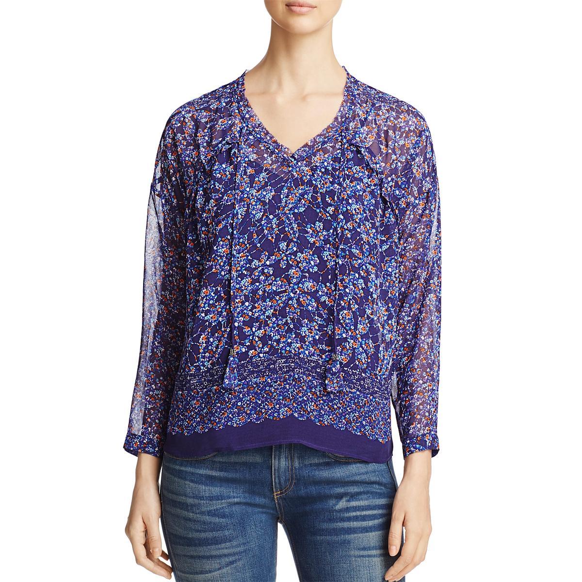 6188cd56dca894 Daniel Rainn Womens Blue Floral Ruffled Contrast Trim Blouse Top M ...