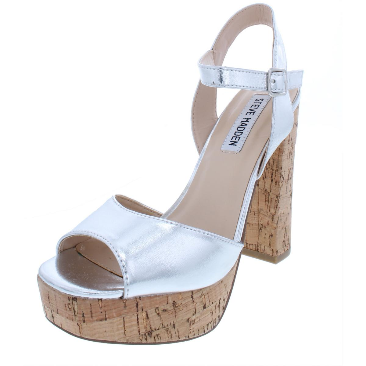 dc66b46131f Details about Steve Madden Womens Notice Silver Platform Sandals 7.5 Medium  (B