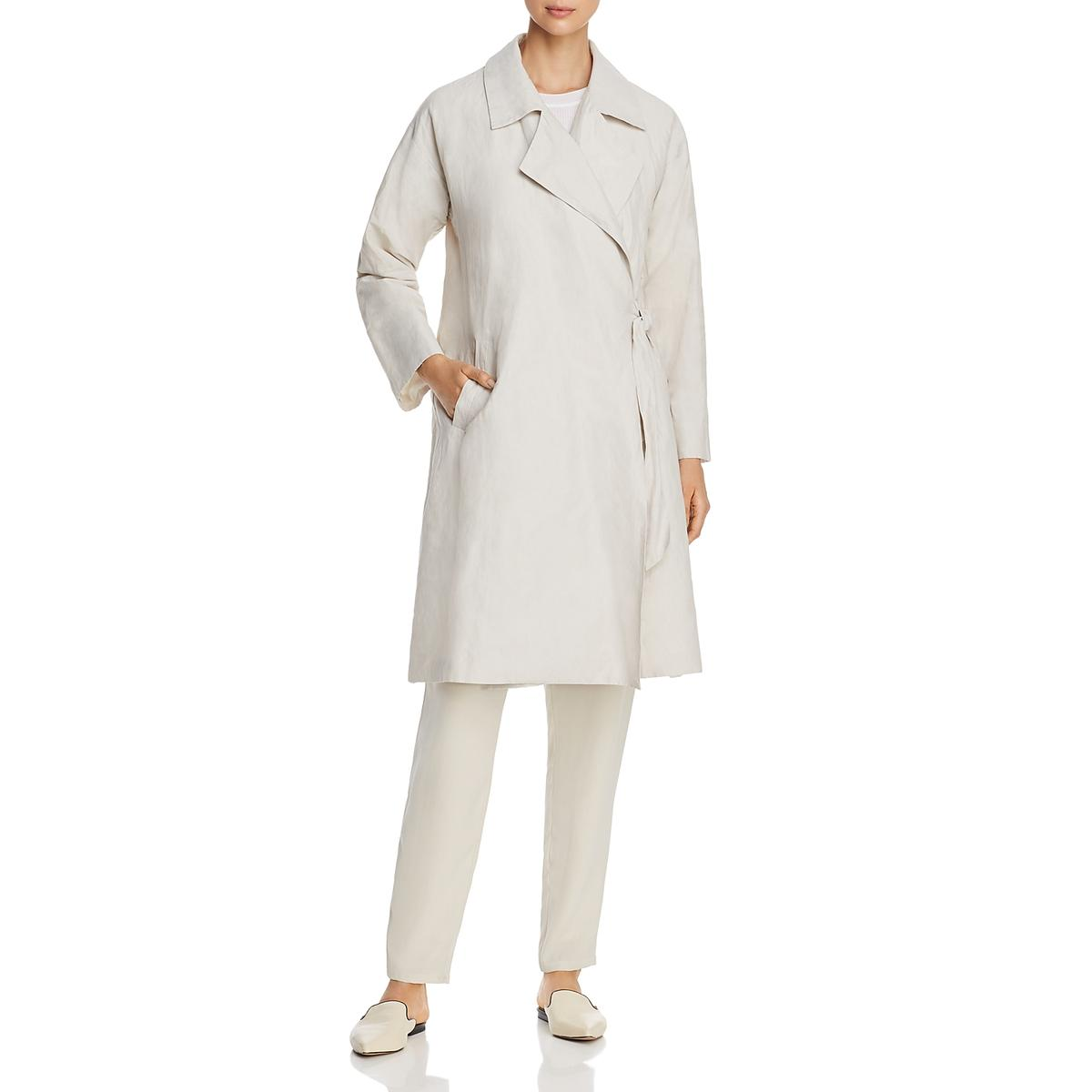 Eileen Fisher Womens Side-Tie Collared Jacket Trench Coat BHFO 2172