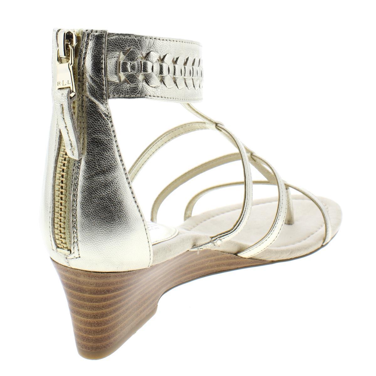 Lauren-Ralph-Lauren-Womens-Meira-Solid-Thong-Wedges-Sandals-BHFO-4677 thumbnail 4