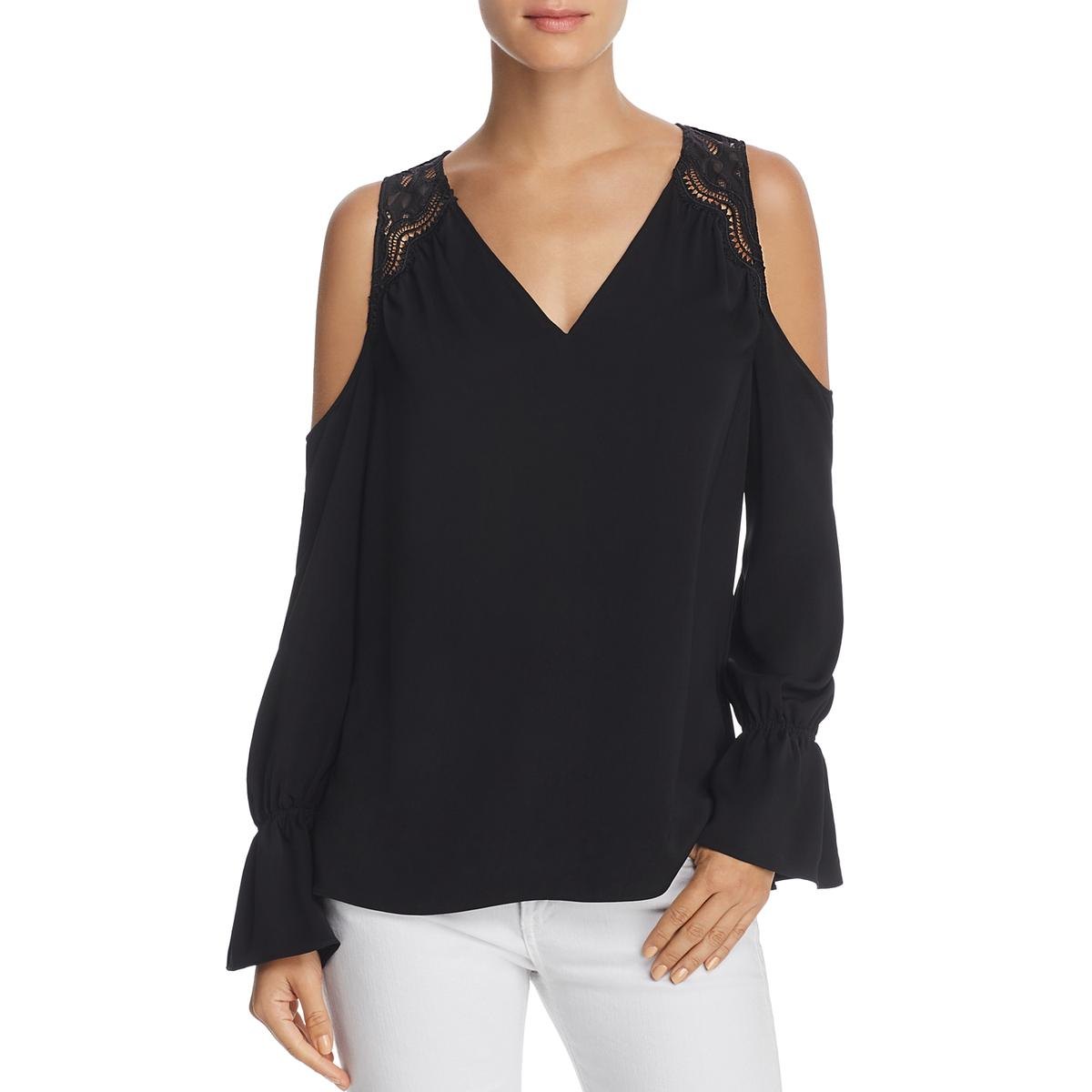 ef1c1a1146212 Details about Ramy Brook Womens Abigail Lace Cold Shoulder V-Neck Blouse Top  BHFO 8523
