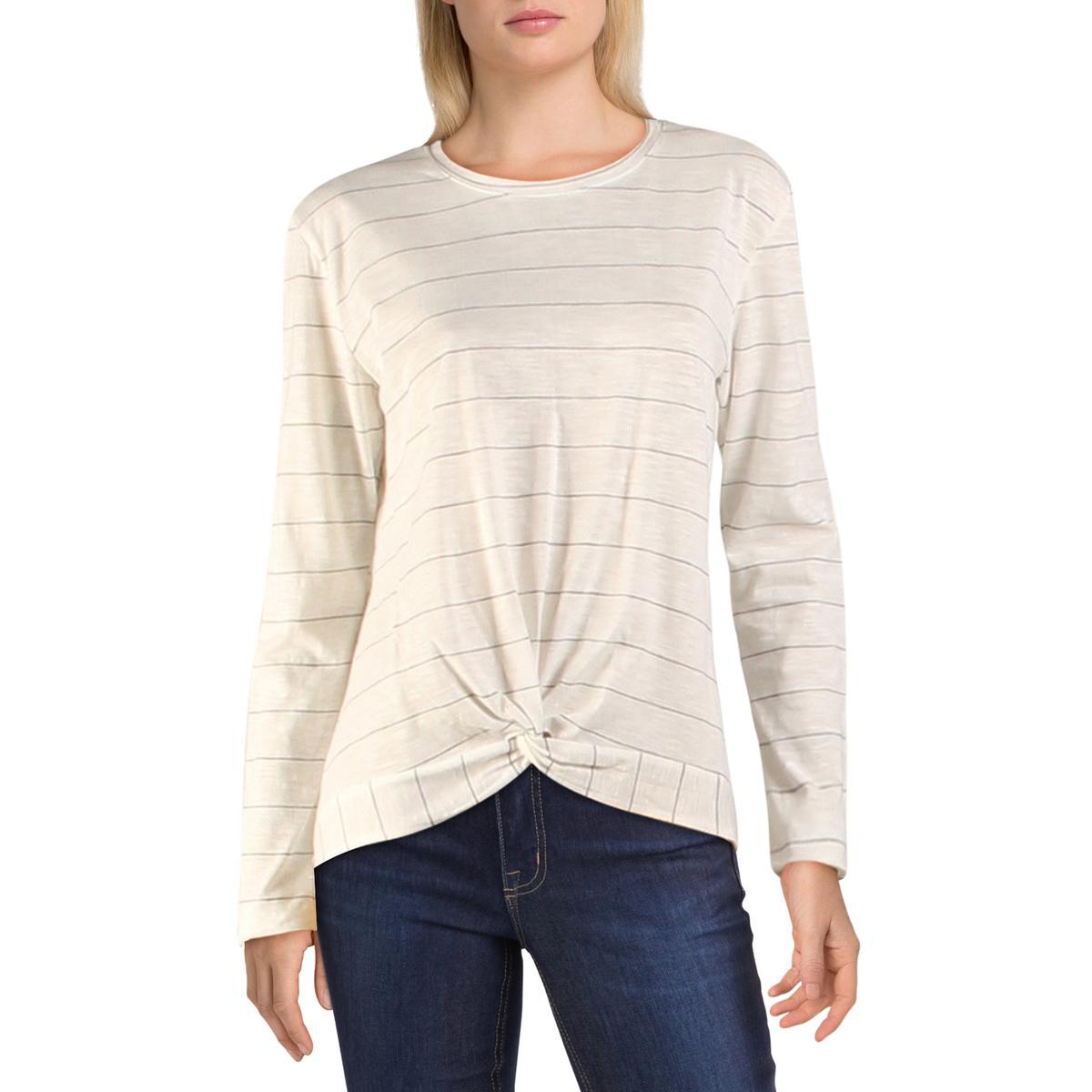 Dex Womens Pinstripe Twist Front Long Sleeves Pullover Top Shirt BHFO 0806
