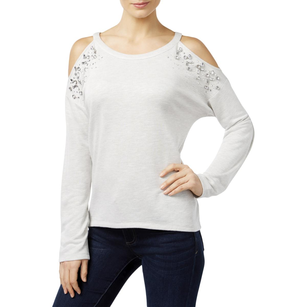 b1833798b73 Details about INC Womens Cold-Shoulder Embellished Long Sleeve Casual Top  Blouse BHFO 3384