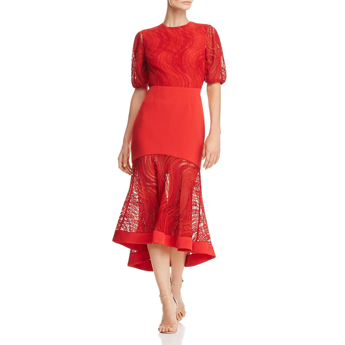 Details About Keepsake Womens Red Lace Puff Sleeve Formal Evening Dress Gown Xs Bhfo 8288