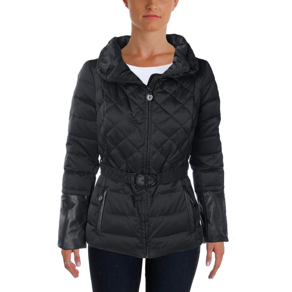 Elie Tahari 2376 Womens Down Leather Trim Quilted Puffer