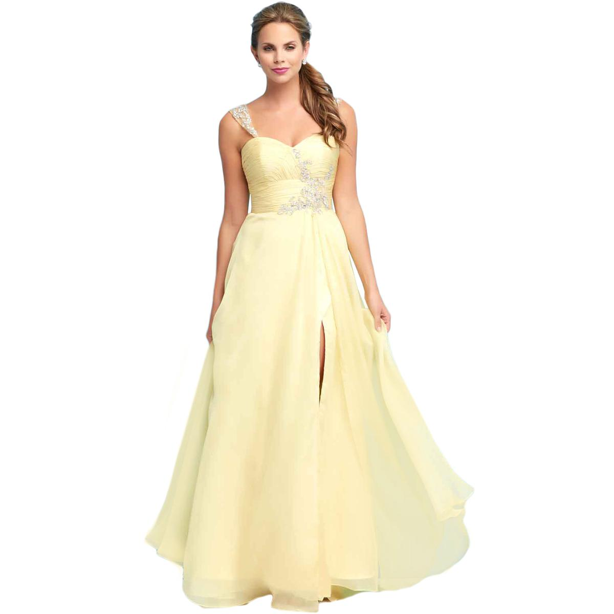 Mac Duggal 6654 Womens Yellow Chiffon Prom Pleated Formal Dress Gown ...