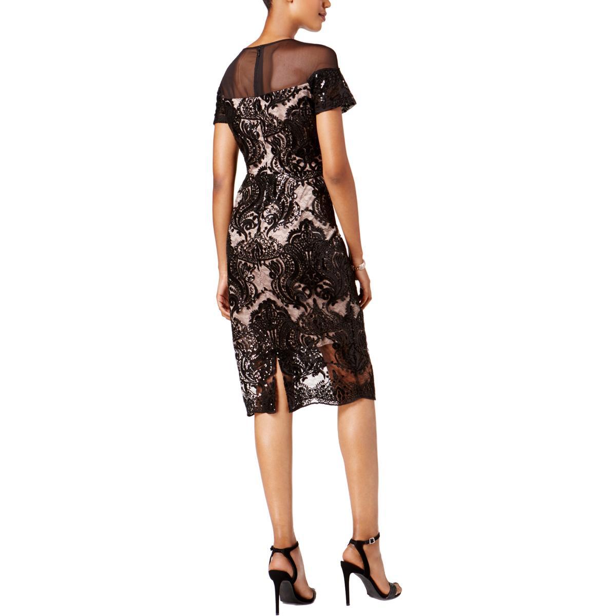 6a1f1fb2146 Jax Black Label Womens Sequined Cap Sleeves Sheath Cocktail Dress ...