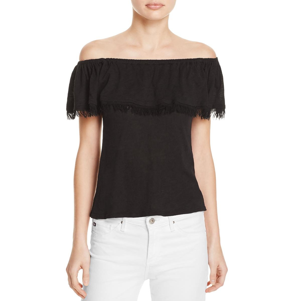 5cb1b8bf47 Details about Splendid Womens Off-The Shoulder Fringe Ruffled Pullover Top  Blouse BHFO 3651