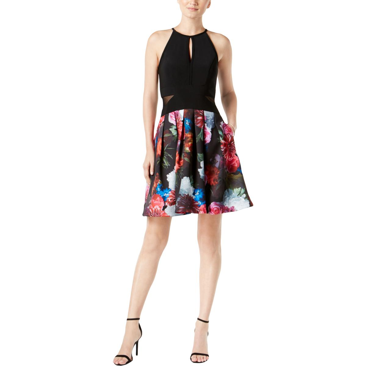 5fbf1da2 Details about Xscape Womens Black Floral Illusion Fit & Flare Party Dress  10 BHFO 3421