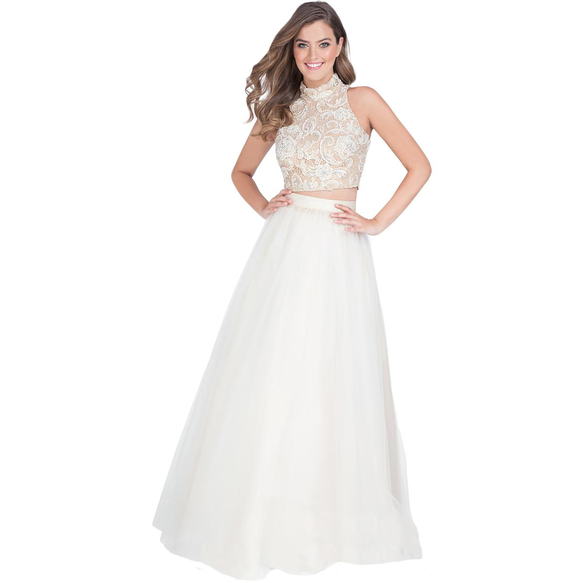 5ed3144970e Details about Terani Couture Ivory Lace Prom Crop Top Dress Gown 2 BHFO 2111