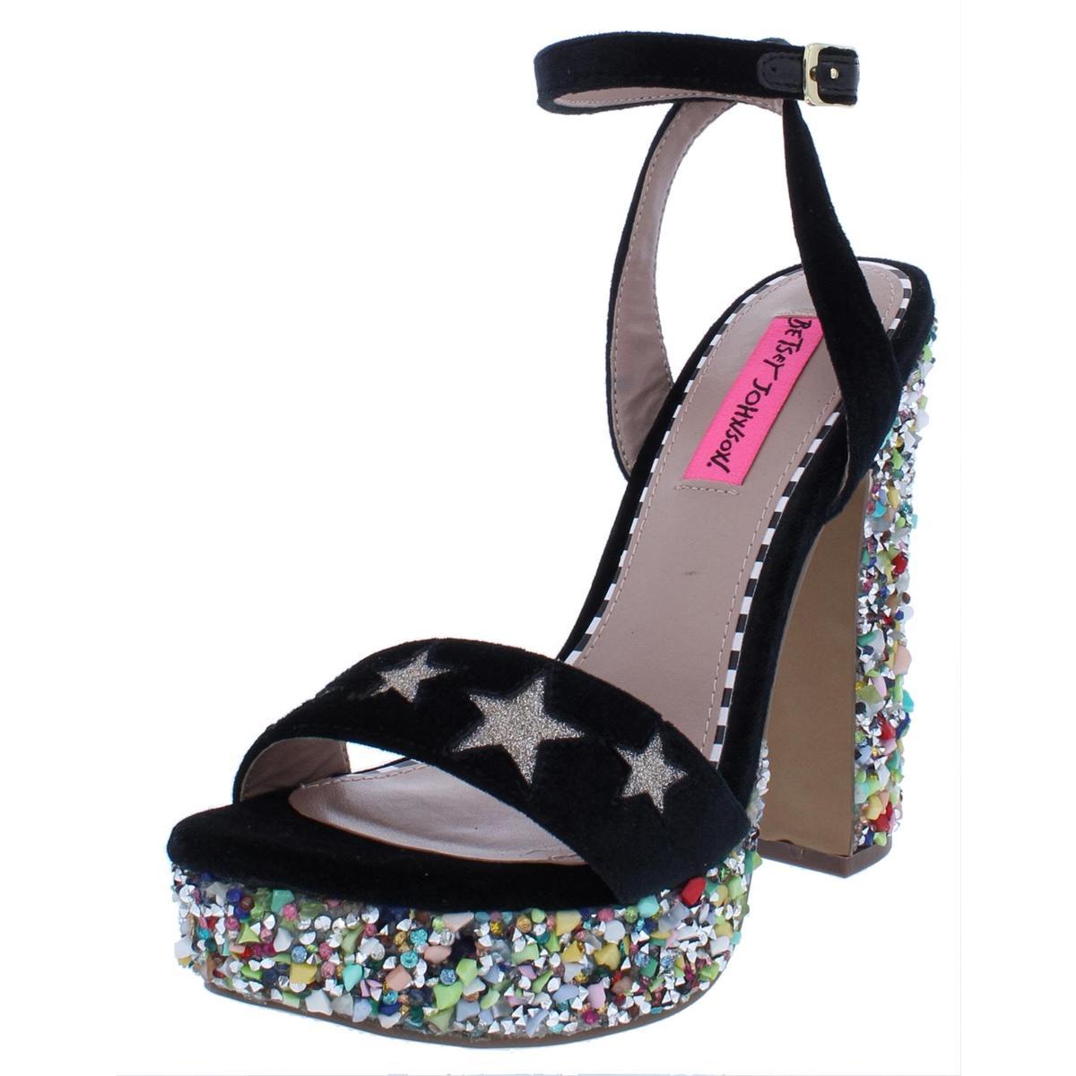 Betsey Johnson Damenschuhe Kenna Embellished Sandales Velvet Platform Sandales Embellished Schuhes BHFO 0600 f7fa23