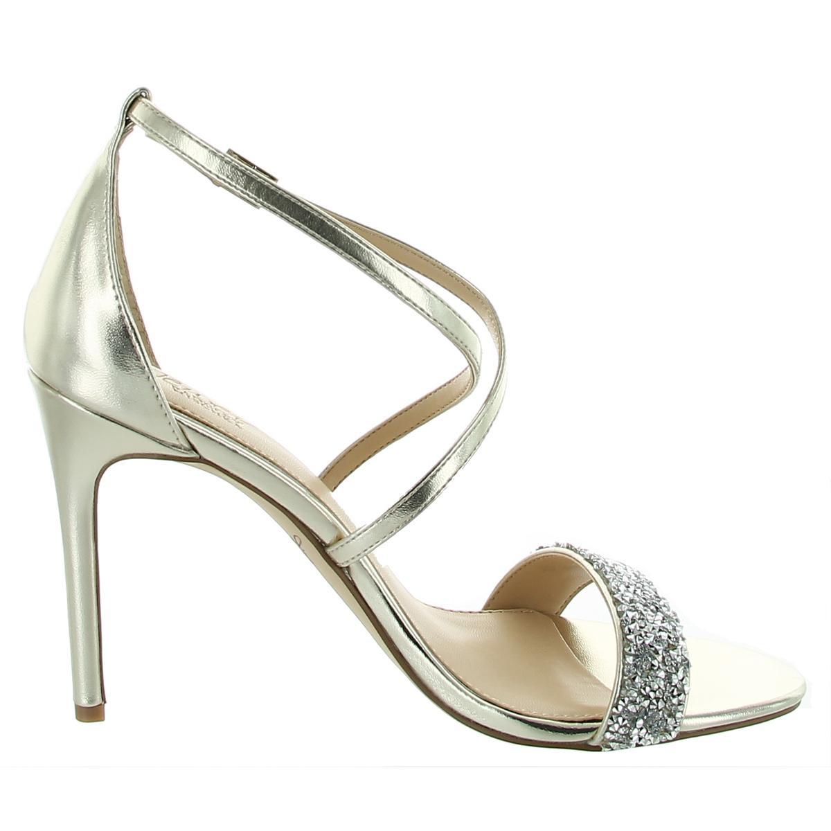 thumbnail 4 - Jewel Badgley Mischka Womens NANNA Ankle Strap Open Toe Pumps Shoes BHFO 1037