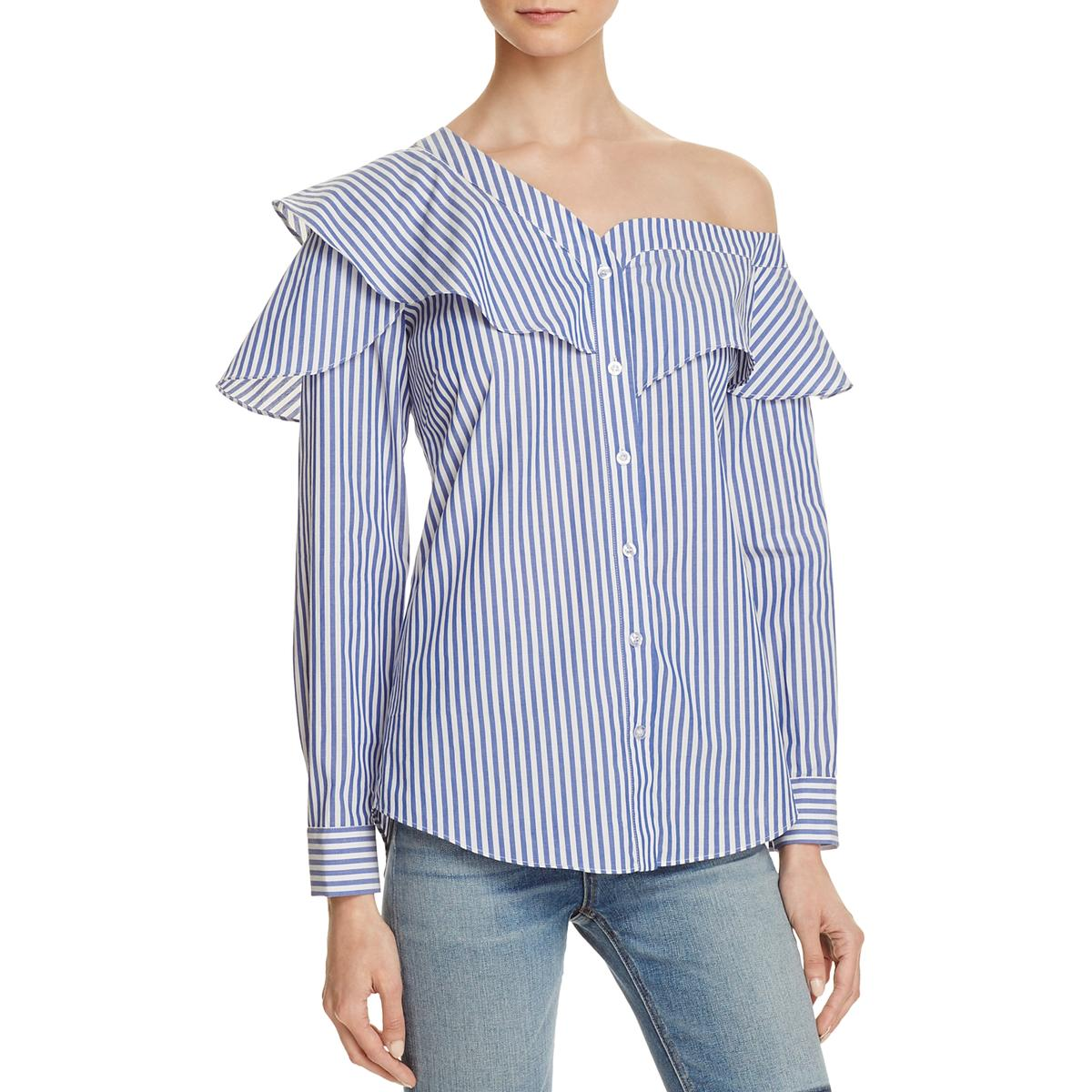 0bf1133e51d7e6 Details about Bardot Womens Blue Ruffled Striped Button-Front Casual Top  Shirt S 6 BHFO 5707