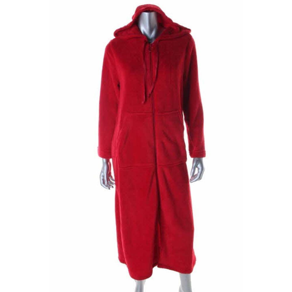 CHARTER CLUB NEW Red Fleece Zipper Hooded Long Robe S BHFO