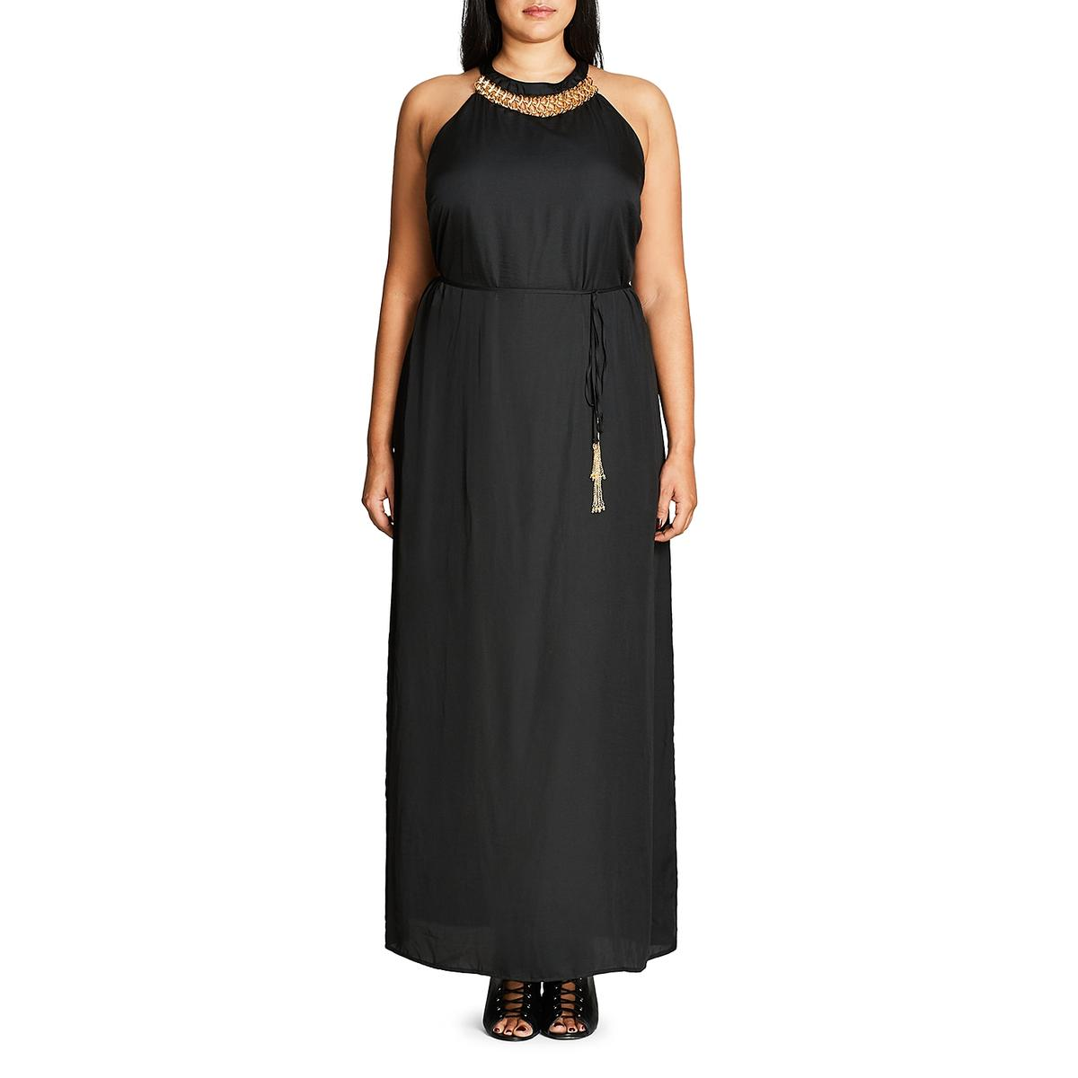 ac428b15e42 City Chic Womens Black Embellished Maxi Dress Gown Plus 18 M BHFO ...