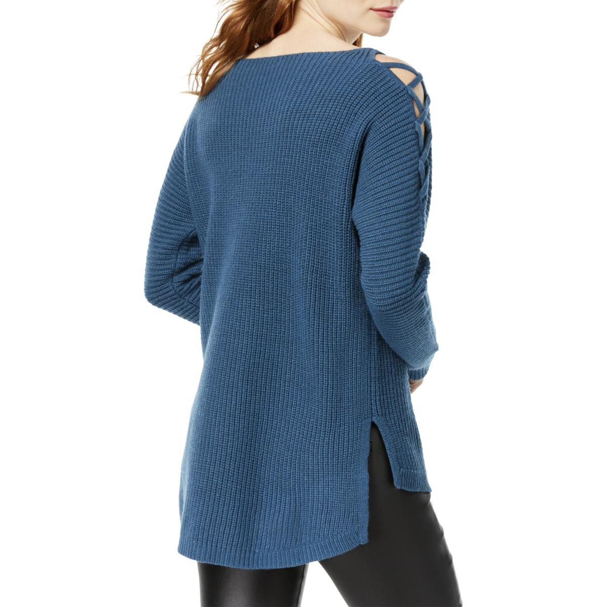 2aba5e08a9154a Bar III Womens Blue Wool Blend Cold-shoulder Pullover Sweater Top XS ...