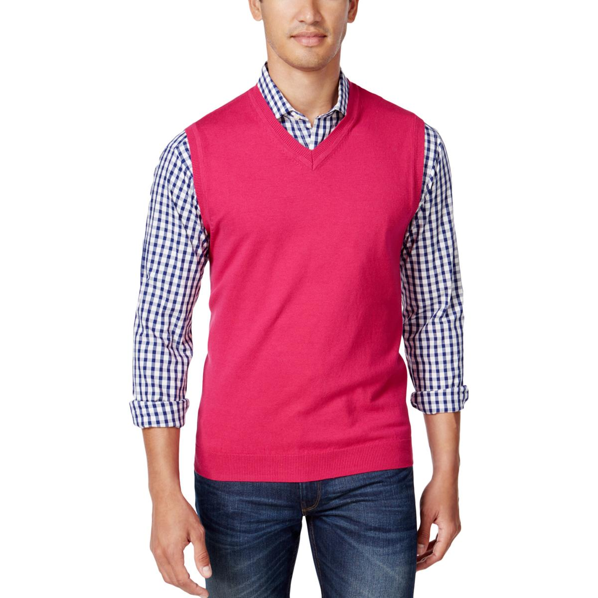 Club Room Men's Cherry Pink V-neck Sweater Vest Size S | eBay