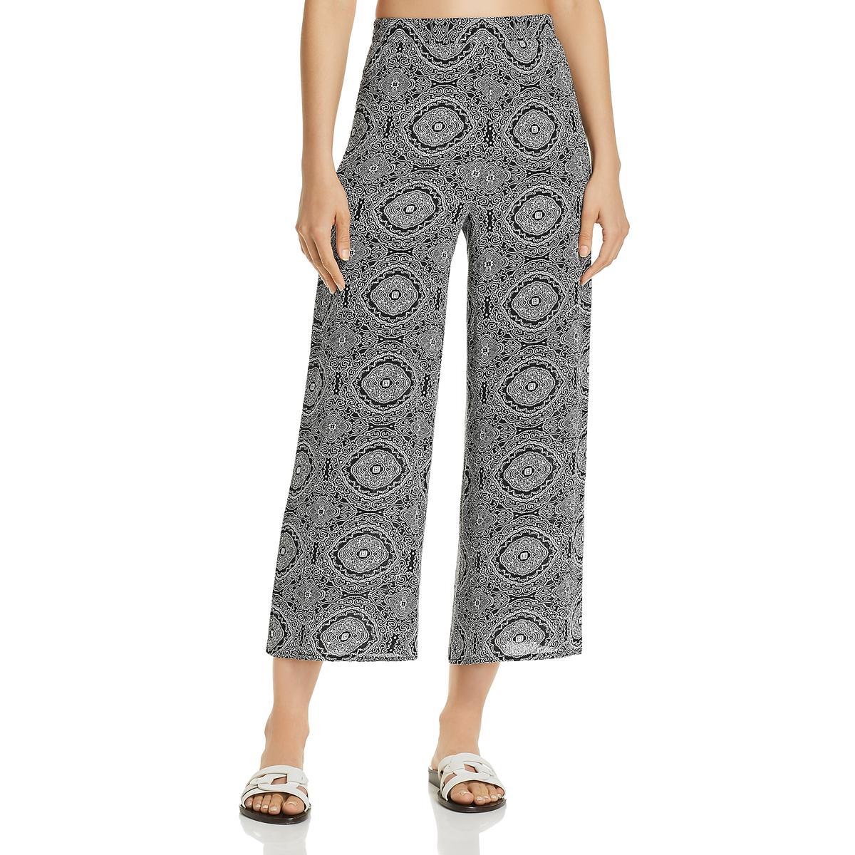 Aqua Womens Animal Print Wide Leg Pull On Casual Pants BHFO 3700