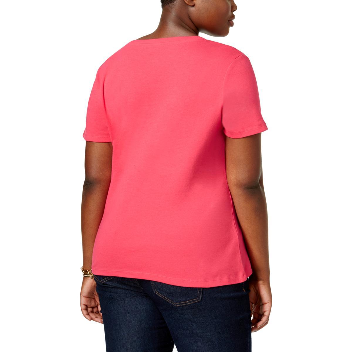 d933d7a7 Tommy Hilfiger Womens V-Neck Short Sleeves Casual T-Shirt Top Plus BHFO  0966 Dames: kleding