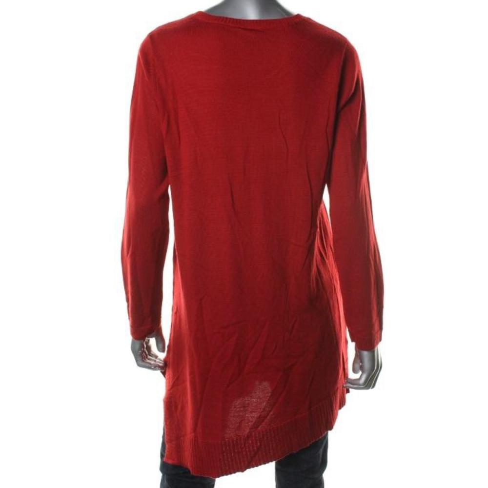 Long Sleeve Red Tunic Sweater Cardigan With Buttons