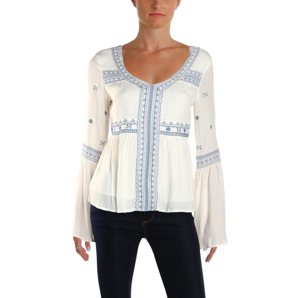 550b7da03c113 Details about Aqua Womens Ivory Bell Sleeves Embroidered Peplum Peasant Top  Blouse S BHFO 7667