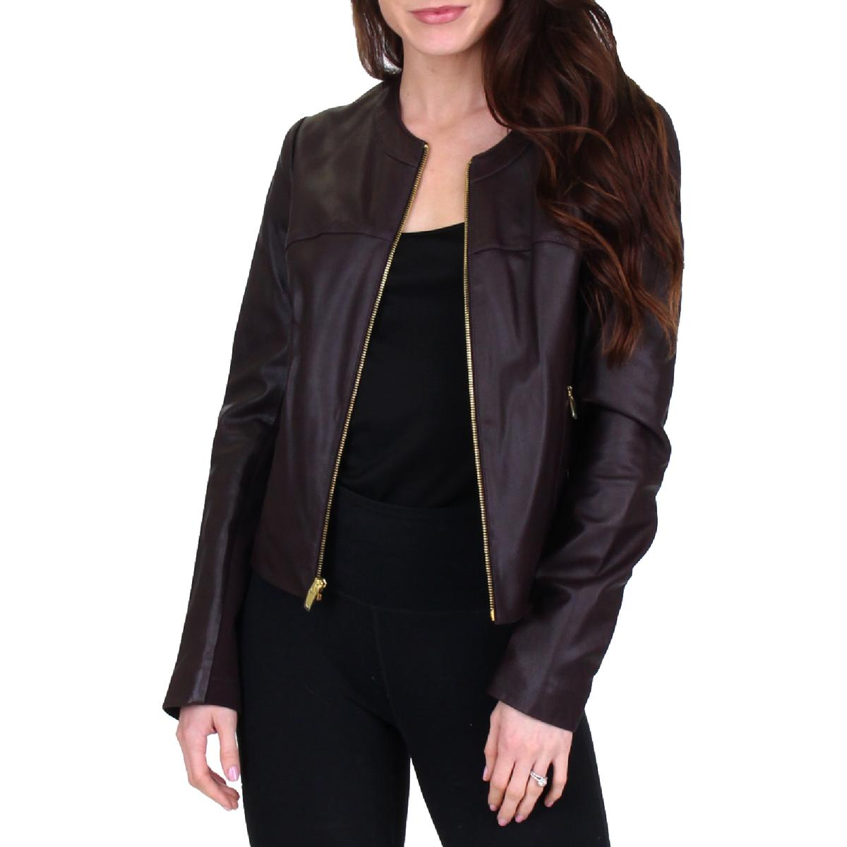 Black M Medium L Large $398 VIA SPIGA Collarless Leather Jacket Knit Back Sand