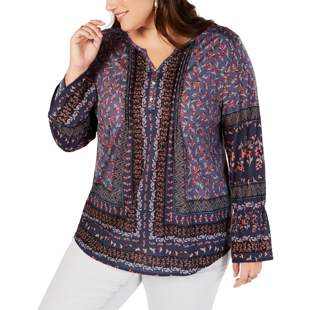 Womens Embroidered Flutter Sleeves Peasant Top Shirt Plus BHFO 1190 Style /& Co