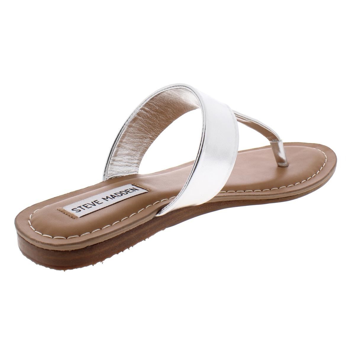 Steve-Madden-Womens-Vacay-Faux-Leather-Thong-Sandals-Flats-Shoes-BHFO-0099 thumbnail 8