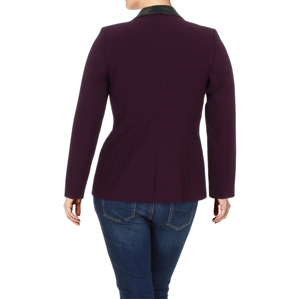 d932ea890dbfc Women s Clothing Calvin Klein Womens Faux Leather Trim One-Button Blazer  Jacket Petites BHFO 4979