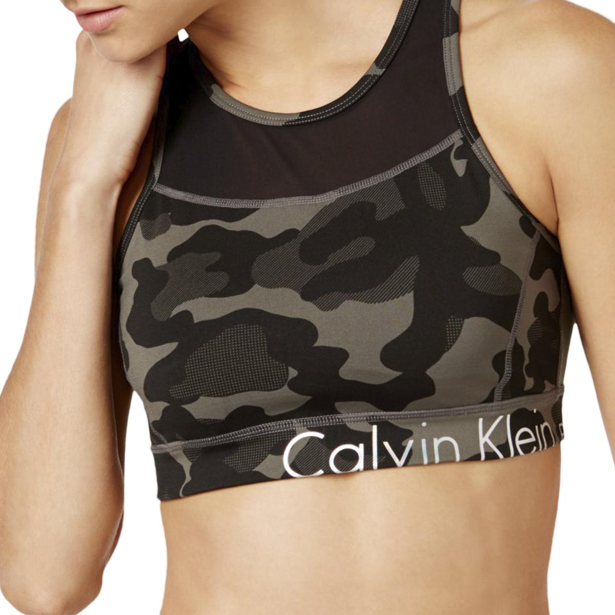 1de632229c7b Details about Calvin Klein Performance Womens Jigsaw Print Sports Bra  Athletic BHFO 6294