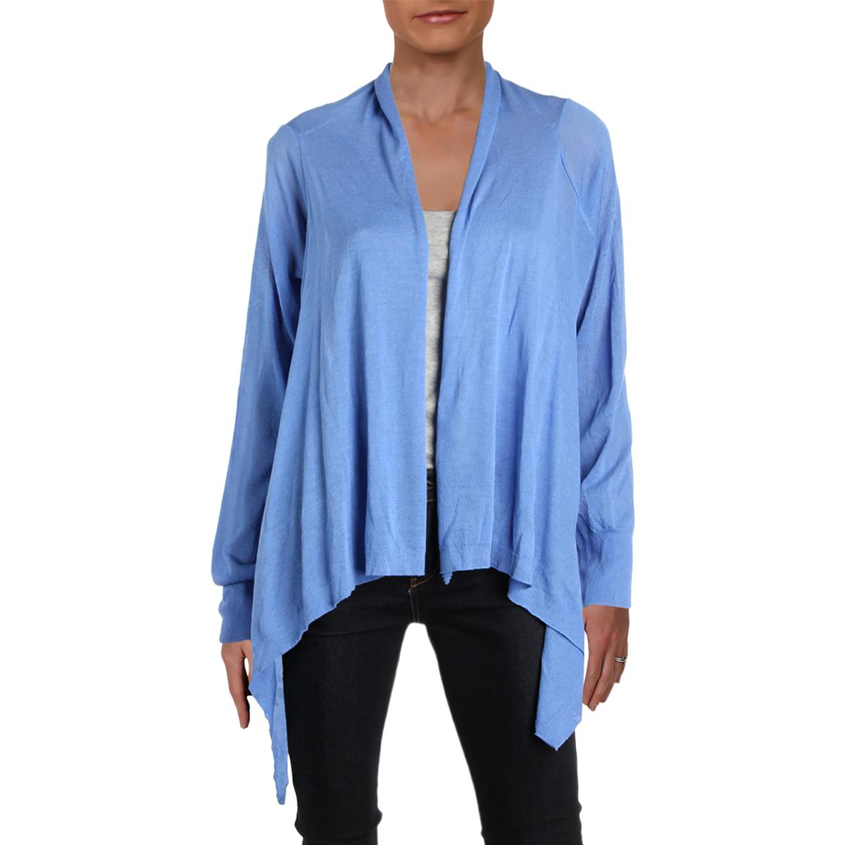 c37cf159 DKNY Womens Blue Hi-Low Open Front Day to Night Cardigan Top L BHFO ...