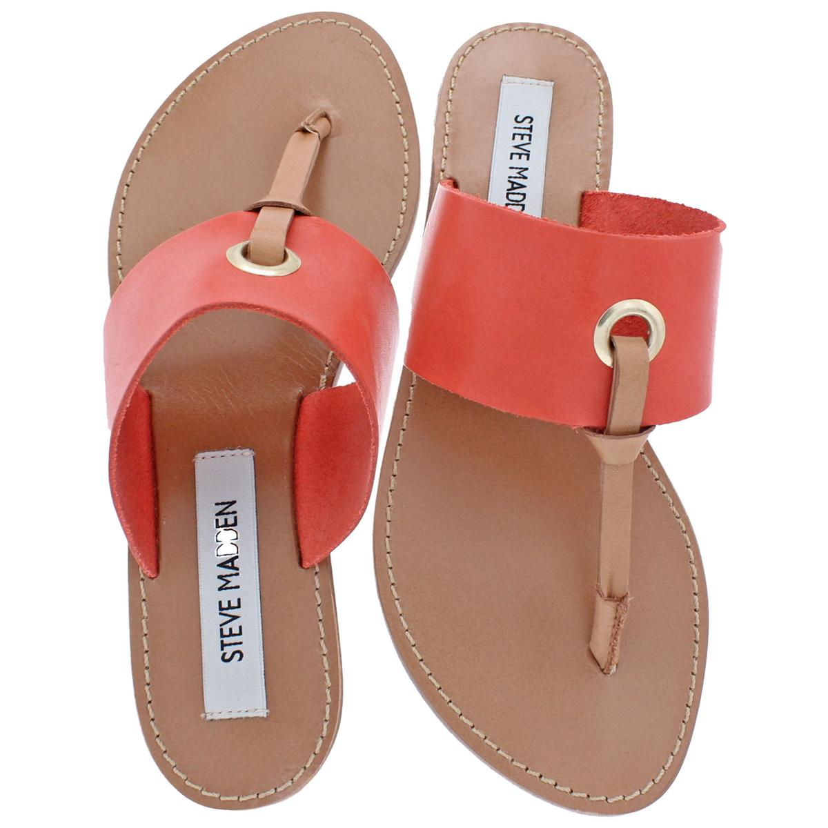 Steve-Madden-Women-039-s-Ringer-Leather-Casual-Thong-Slide-Flat-Sandals-Shoes thumbnail 4