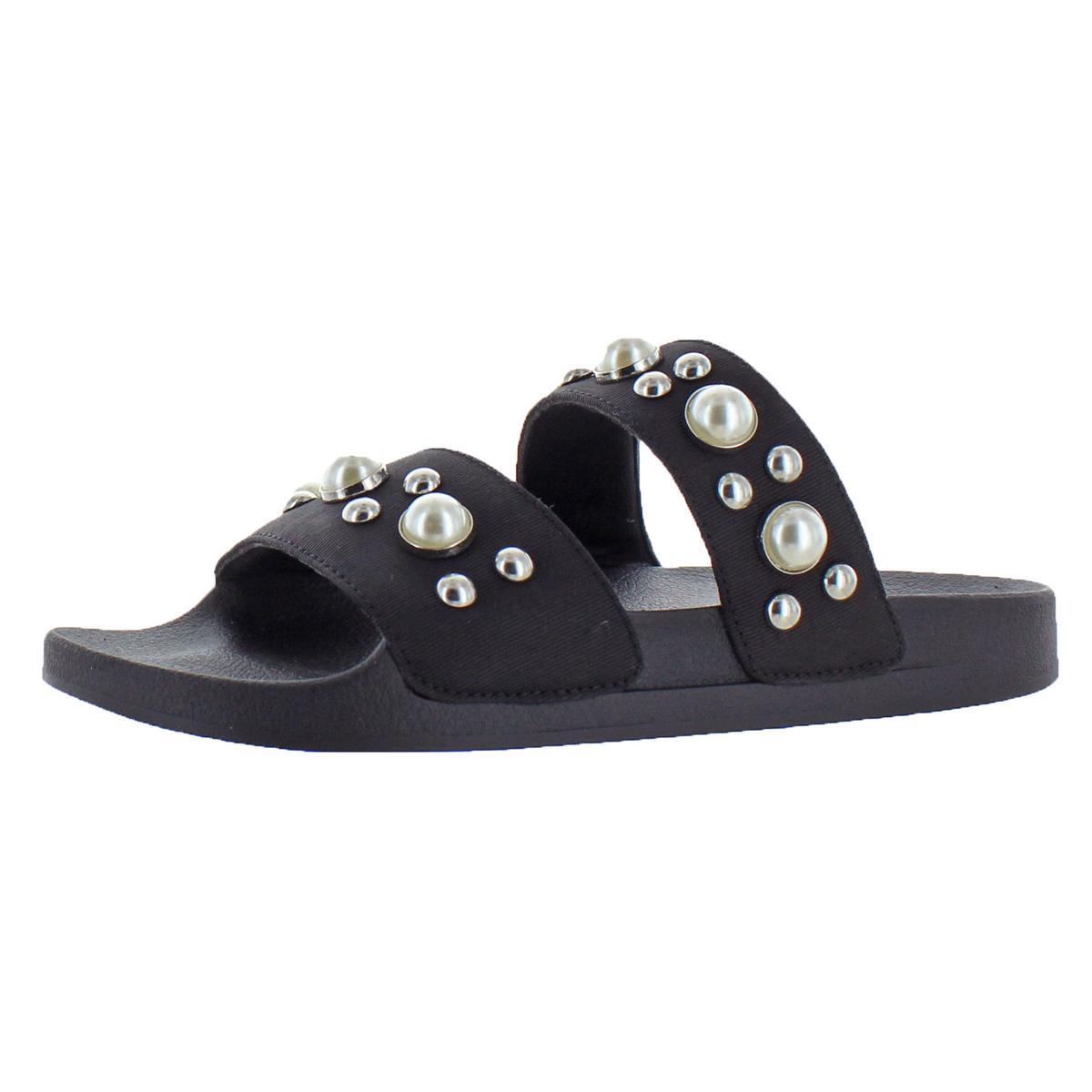671ced5595f Details about Steve Madden Womens Polite Embellished Flats Slide Sandals  Shoes BHFO 8949
