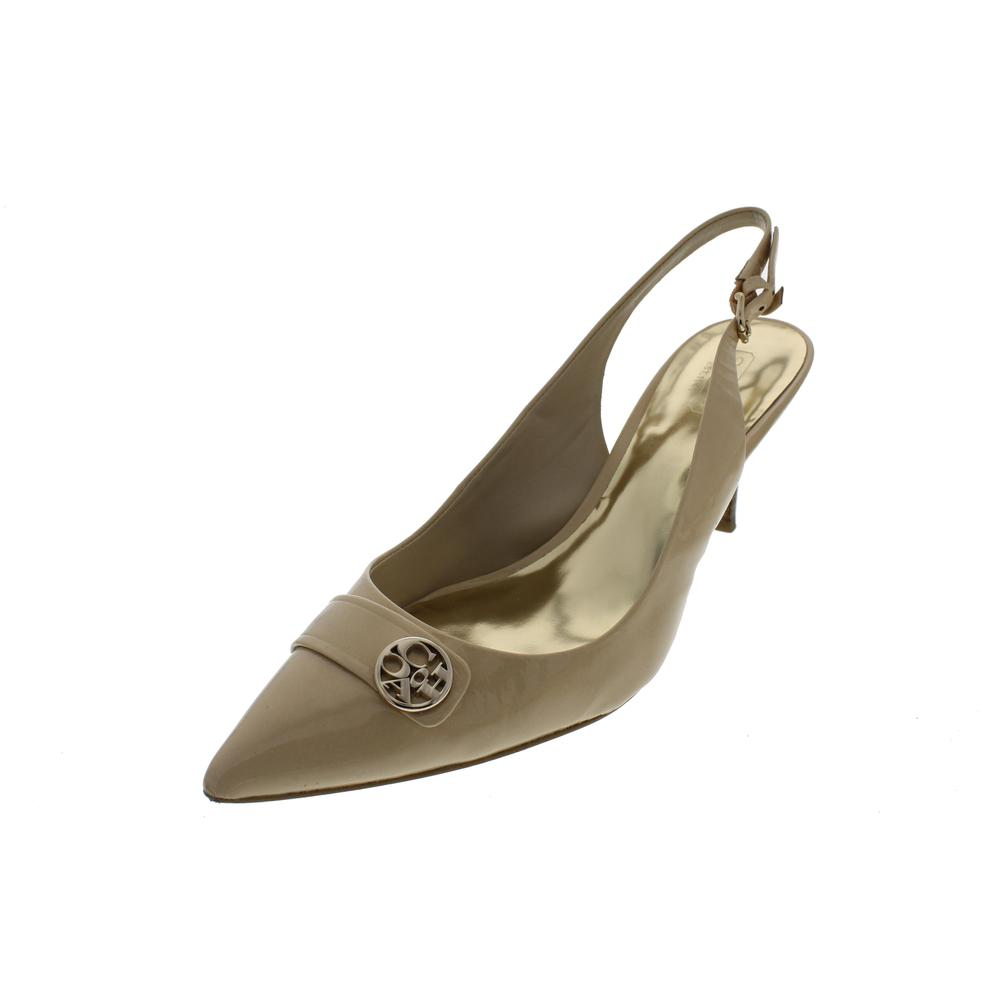 Coach Zhane Tan Patent Leather Pointed Toe Pumps Slingback ...