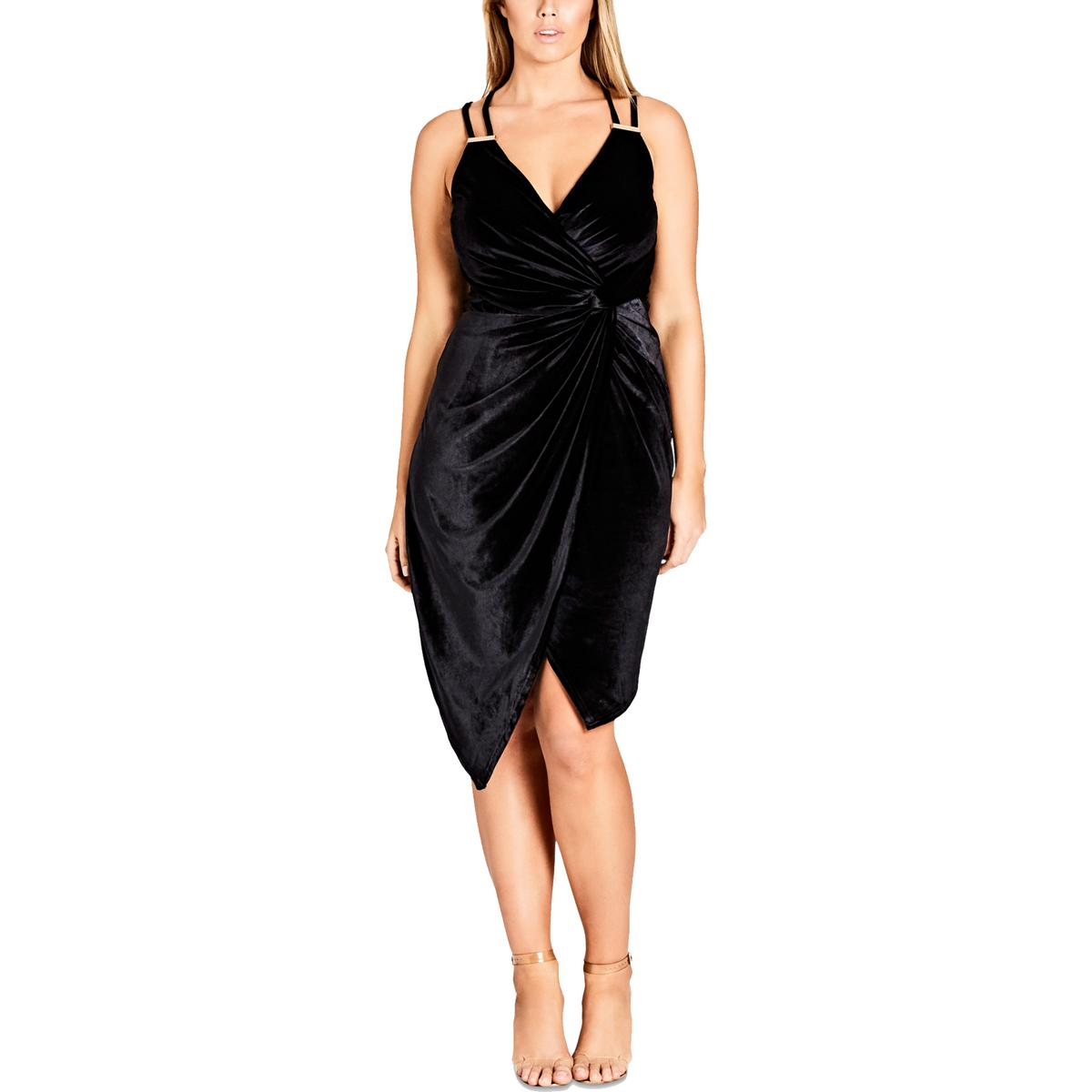 Details about City Chic Womens Black Velvet Surplice Cocktail Dress Plus 20  L BHFO 6036 26f6e5043