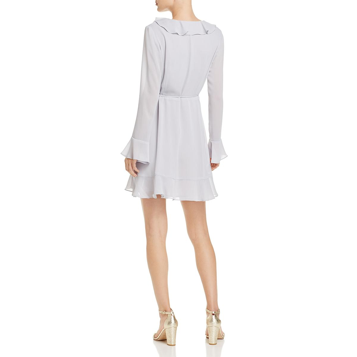 WAYF-Womens-Gabby-Bell-Sleeves-Ruffled-Wrap-Mini-Dress-BHFO-5149 thumbnail 6