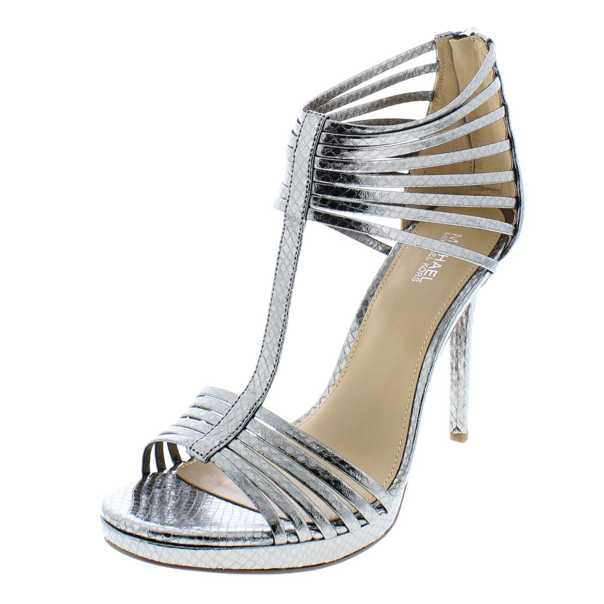 a87531881 Details about MICHAEL Michael Kors Womens Leann Leather Heels Evening  Sandals Shoes BHFO 8326