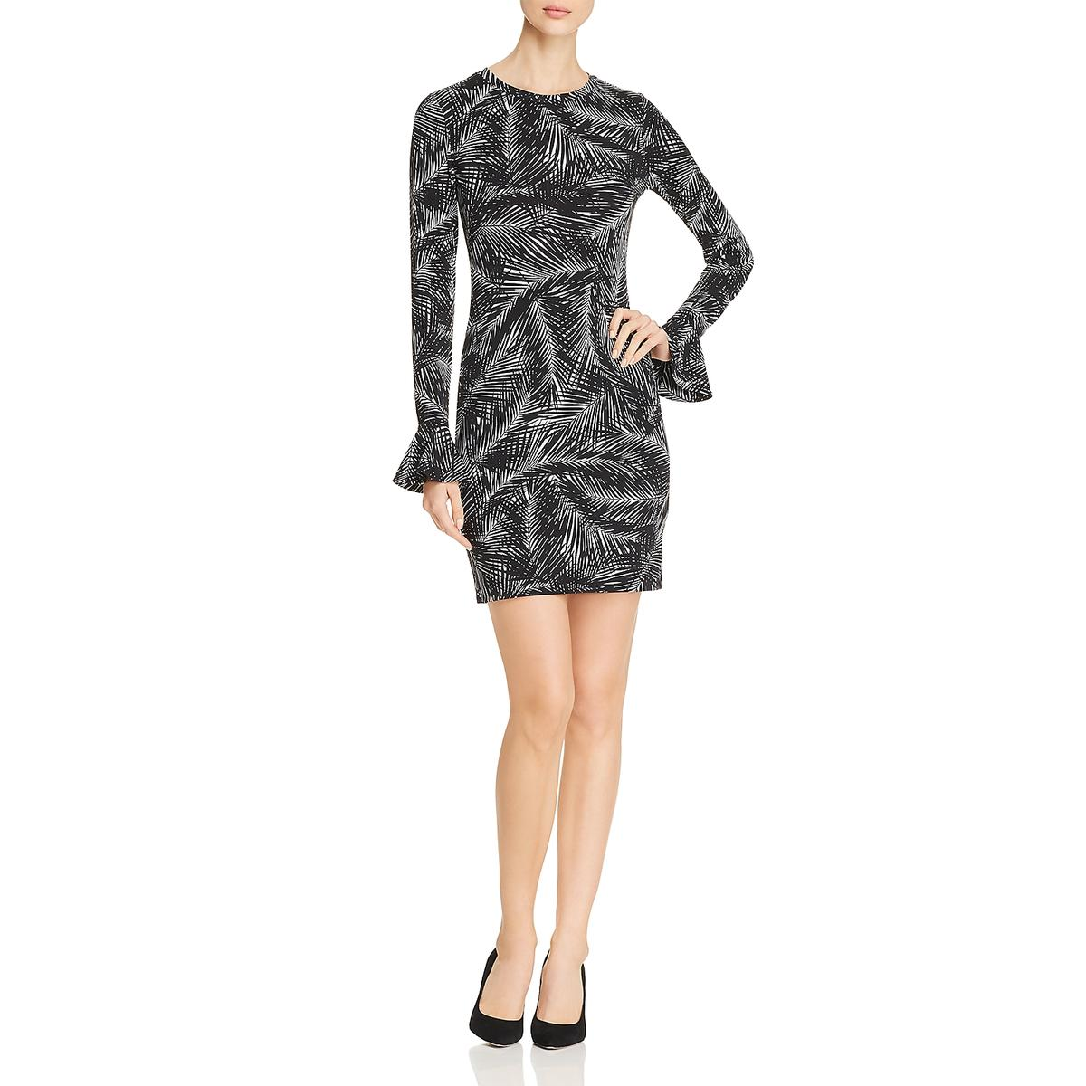 15a6d75cd4 Michael Kors Women s Black White Jersey Evening Bell Sleeves Dress ...