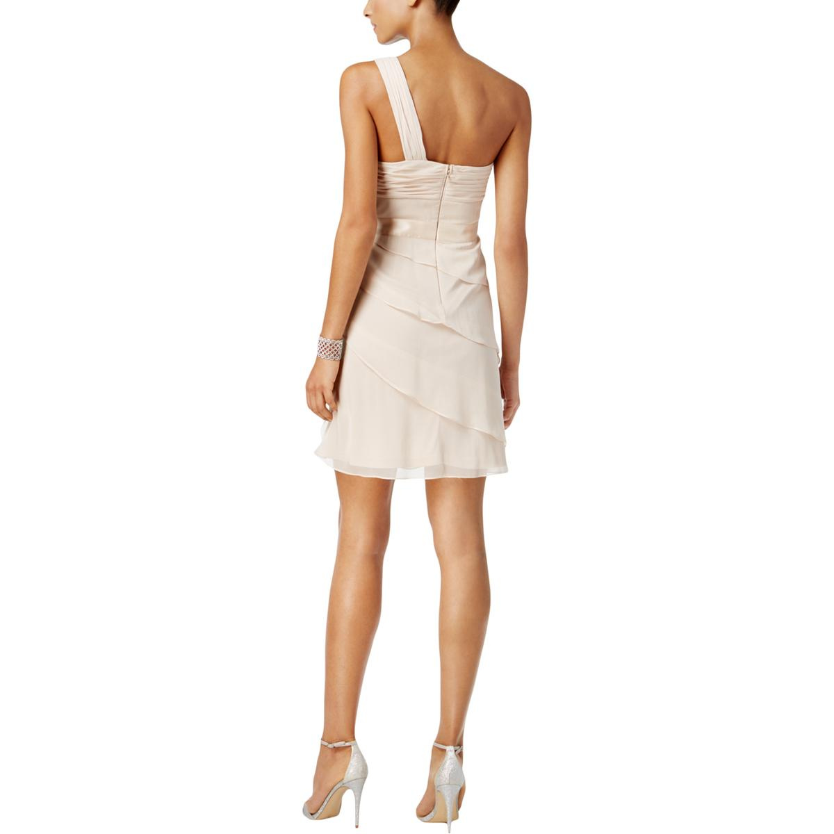 Adrianna-Papell-Womens-Tiered-One-Shoulder-Party-Cocktail-Dress-BHFO-6662 thumbnail 4