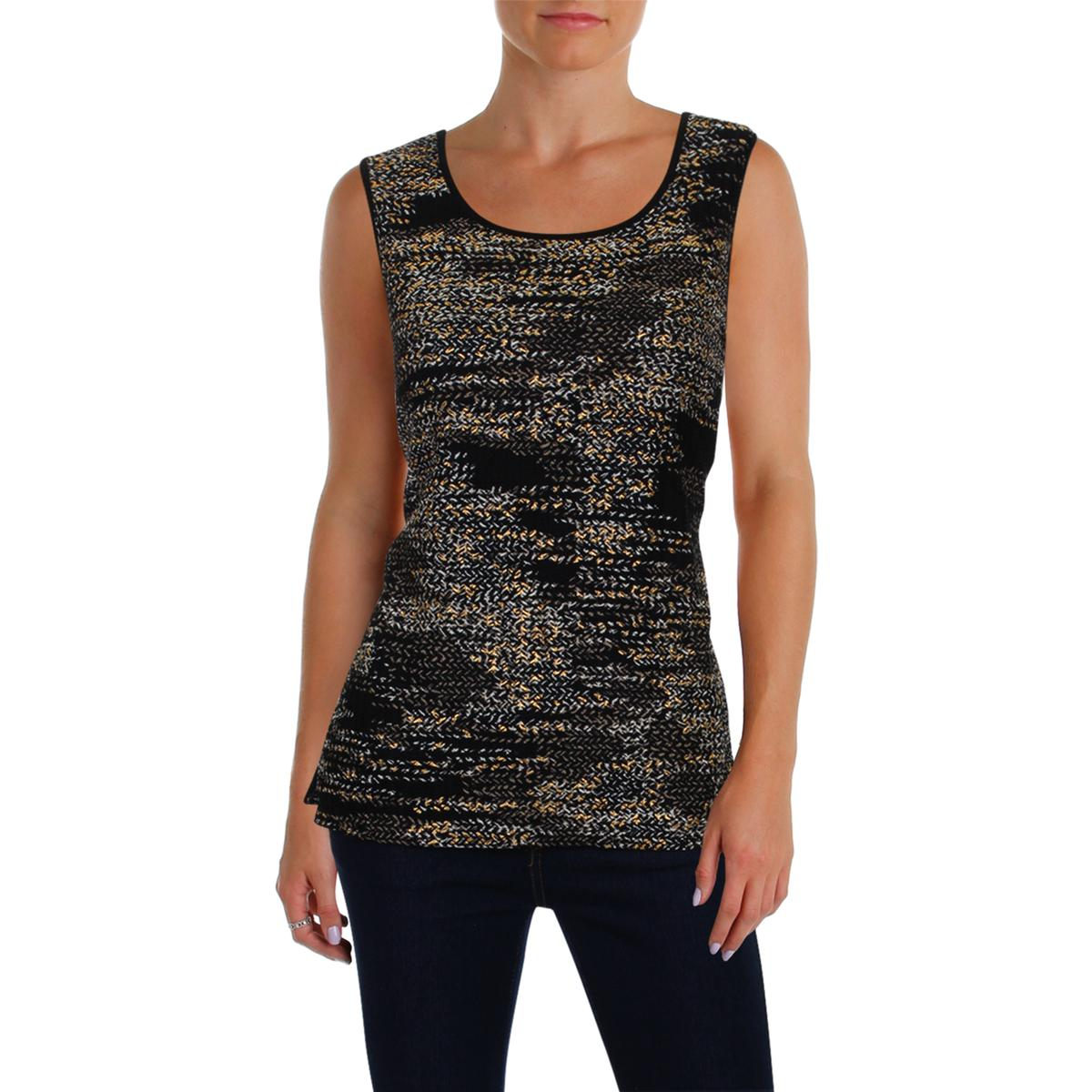 a69489c76d Details about Kasper Womens Printed Jewel Neck Day to Night Shell Top BHFO  9222