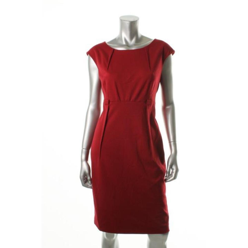 Calvin Klein Red Ponte Cap Sleeves Knee-Length Wear To