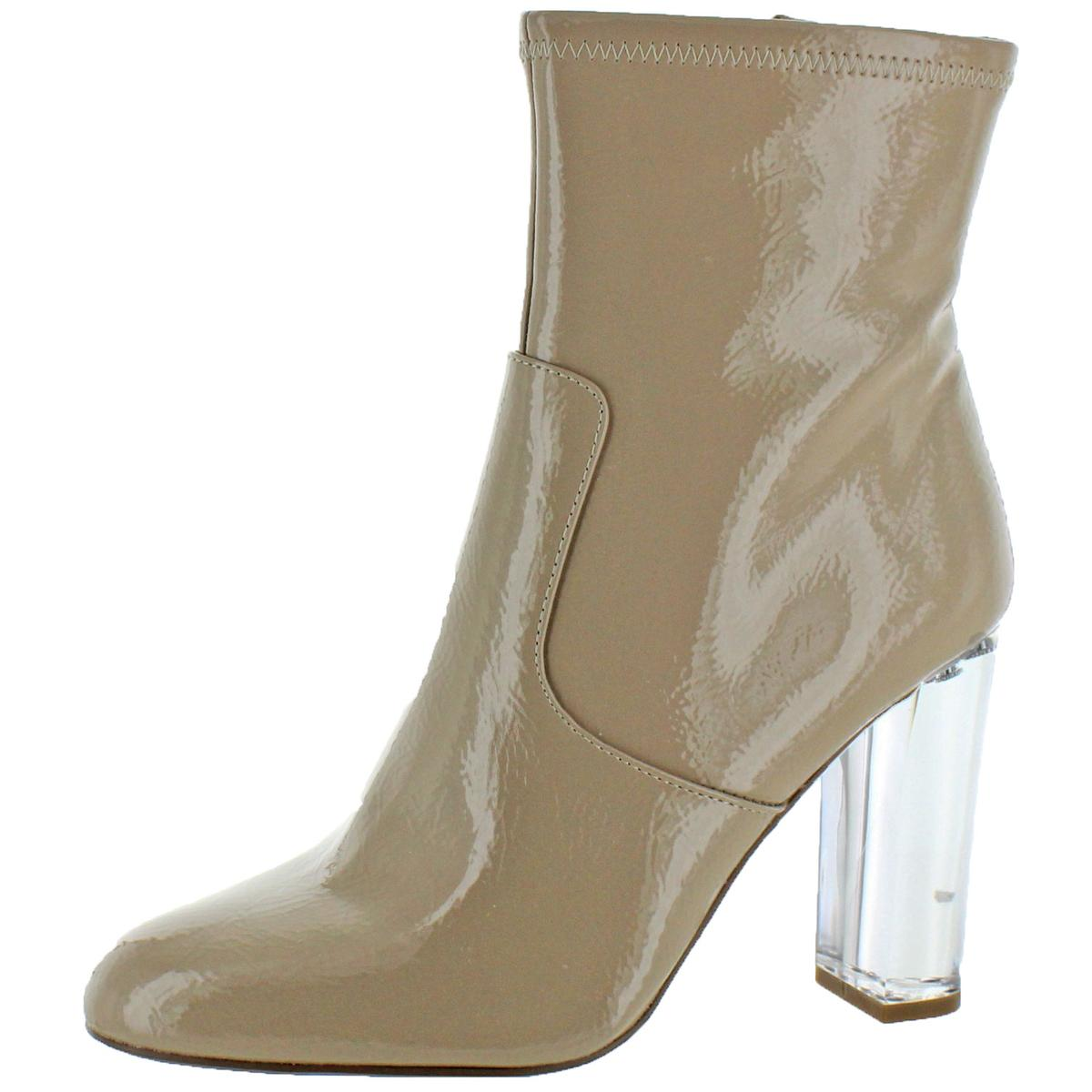 fb66d60188 Details about Steve Madden Eminent Women's Patent Side Zip Clear Heel Party  Ankle Dress Boots