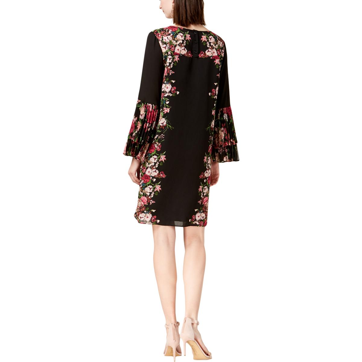 e6d768a25aa2 Details about INC Womens Black Floral Print Pleated Bell Sleeve Shirtdress  4 BHFO 3329