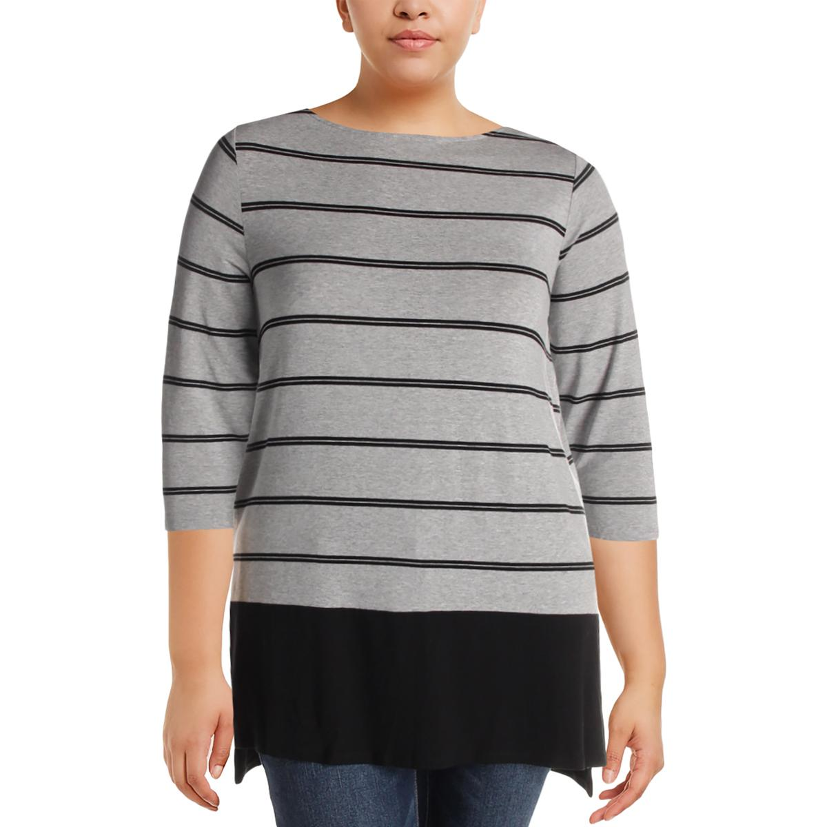 Vince-Camuto-Womens-Striped-3-4-Sleeves-Boatneck-Tunic-Top-Shirt-Plus-BHFO-6857