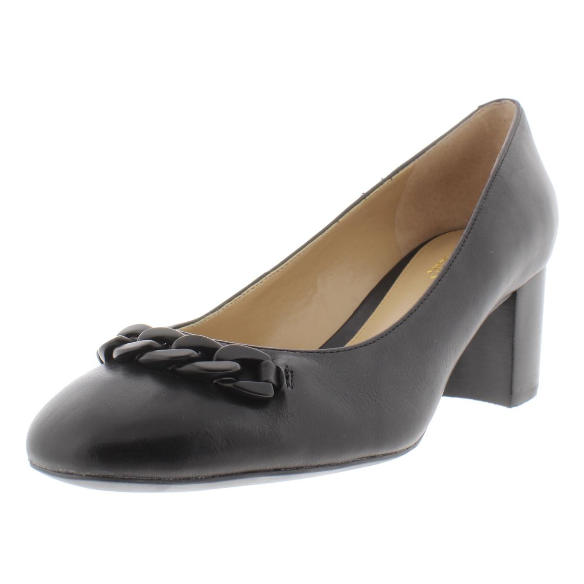 cc8a1dd9d Details about Lauren Ralph Lauren Womens Jacksen Black Block Heels 8 Medium  (B,M) BHFO 8500