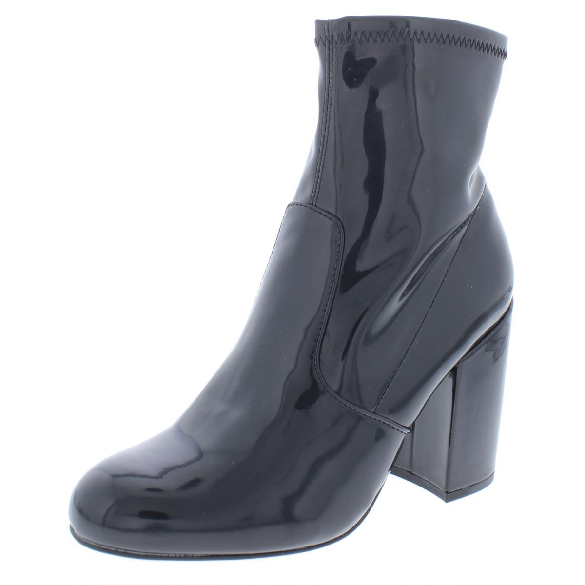 2904c9cb11f Details about Steve Madden Womens Gaze Black Patent Booties Shoes 5 Medium  (B,M) BHFO 9681