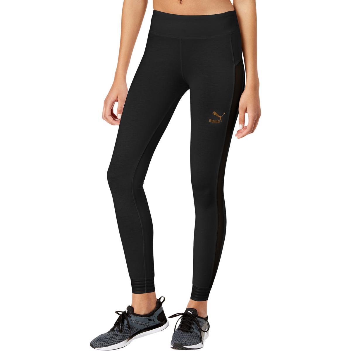 9b0665c1dbea Details about Puma Womens T7 Black Mesh Trimmed Stripe Fitted Athletic  Leggings L BHFO 4903