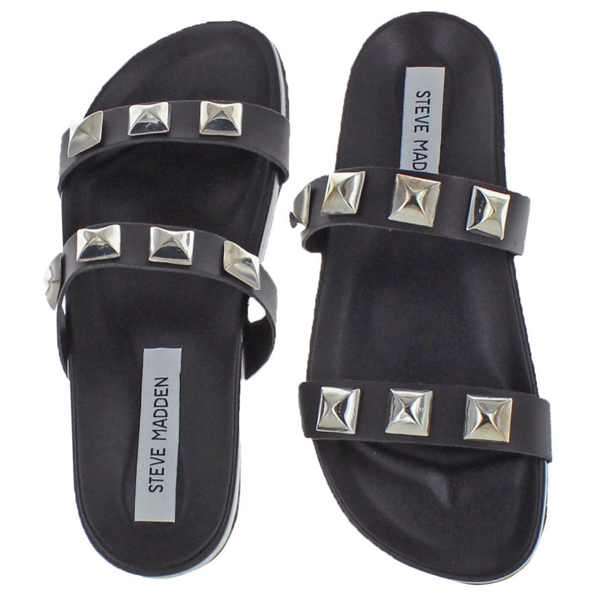Steve-Madden-Women-039-s-Yield-Leather-Studded-Flat-Slide-Sandals thumbnail 4