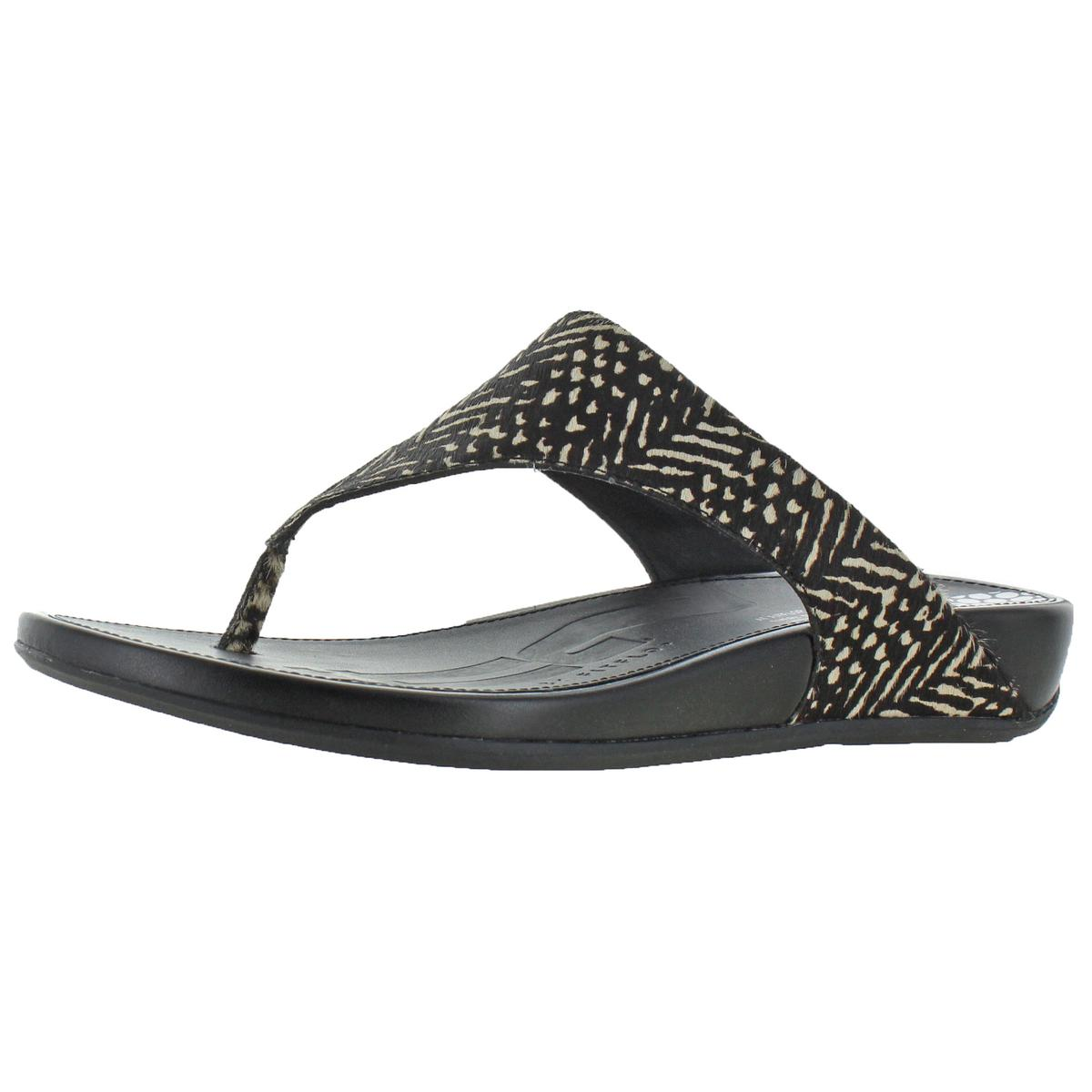 68f81965c Details about Fitflop Womens Banda Brown Leather Thong Sandals Wedges 8  Medium (B