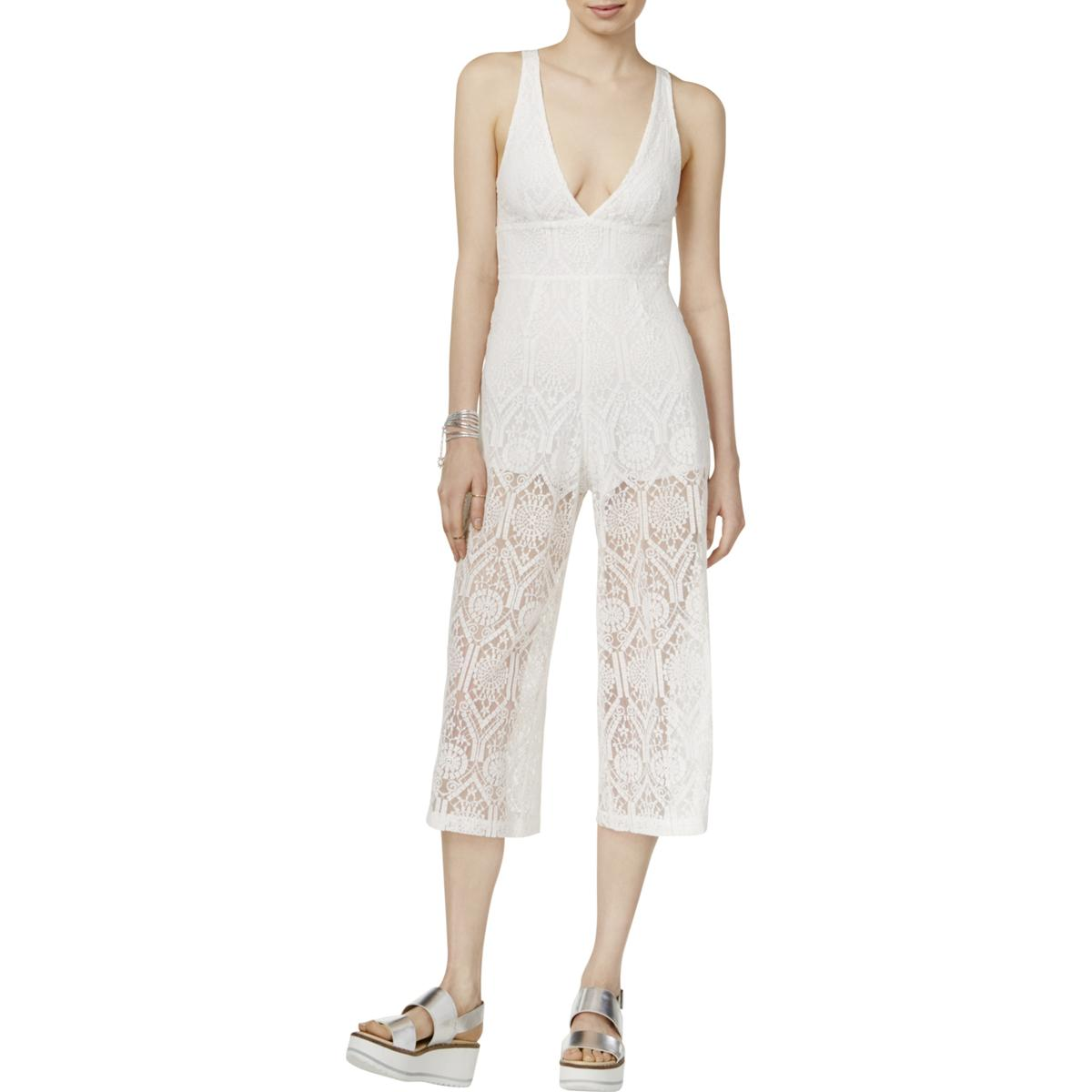 4ddb5adb9b3 Details about Minkpink Womens Lace Cropped Wide Leg Jumpsuit BHFO 0366